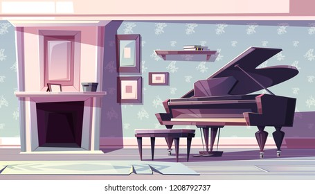 Living room interior in classic style with fireplace, grand piano and paintings or family photos in wooden frame on wall with floral pattern cartoon vector illustration. Musical saloon with pianoforte