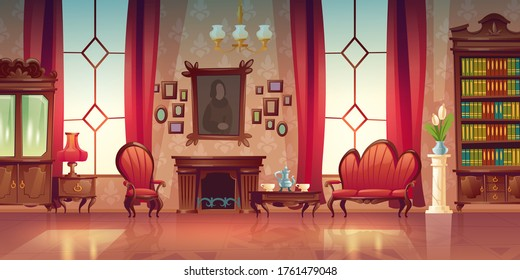 Living room interior in classic victorian style with sofa, armchair, fireplace and bookcase. Vector cartoon illustration of old lounge room with vintage wooden furniture and tea on table