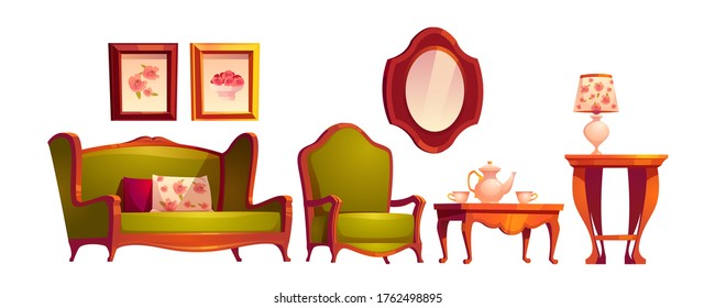 Living room interior in classic victorian style with sofa, armchair, mirror and coffee table. Vector cartoon set of vintage wooden furniture for old lounge room with tea on table and paintings