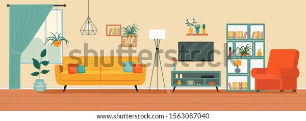Living room interior. Comfortable sofa, TV,  window, chair and house plants. Vector flat illustration