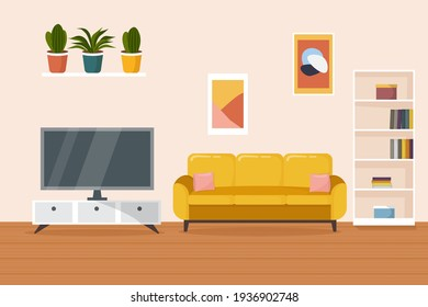 Living room interior. Comfortable yellow sofa, bookcase, TV and house plants. Flat style vector illustration.