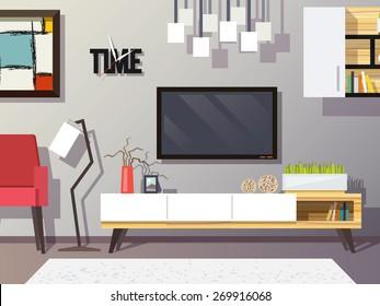 Living room interior concept with modern furniture set flat vector illustration