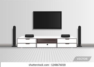 Living room interior design and decorative recreation stereo., Vector, Illustration