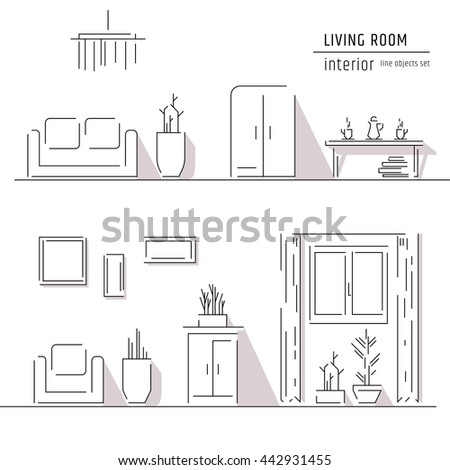 Living Room Interior Design Elements Sofa StockVektorgrafik Inspiration Interior Design Elements