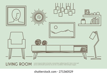 Living room interior design with outline furniture set vector illustration