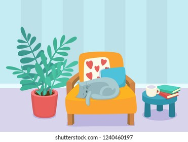 Living room interior design with sleeping cat and furniture: chair, pillows, plant and table with books and cup. Modern design interior. Flat style vector illustration.