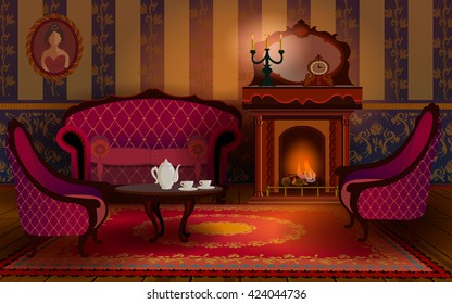 Living room interior with fireplace, sofa and armchair. On the table are the cup of tea. The cozy interior with candles in old English Victorian style.