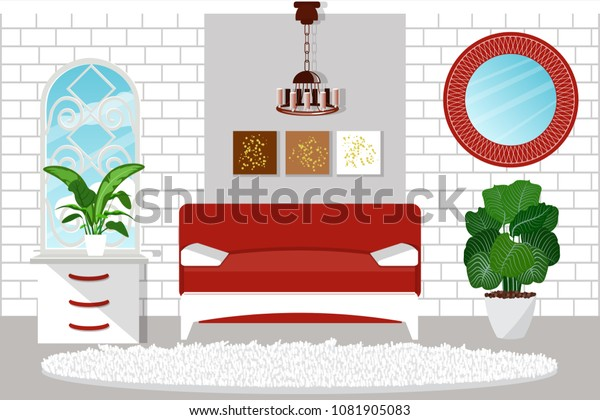 Fine Living Room Interior Furniture Beautiful Red Stock Vector Gmtry Best Dining Table And Chair Ideas Images Gmtryco