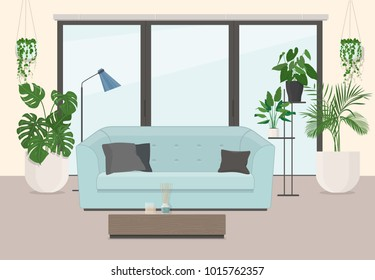 Living room interior with furniture, panoramic window and ornamental plants. Vector illustration