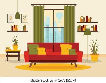 living room interior with furniture, table, window, shelves with books and home flowers, floor lamp. flat cartoon vector illustration