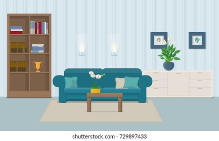 Living room interior with furniture. Vector illustration in flat style