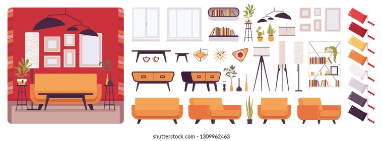 Living room interior, home or office creation kit, lounge set with furniture, different constructor elements to build your own design. Cartoon flat style infographic illustration with color palette