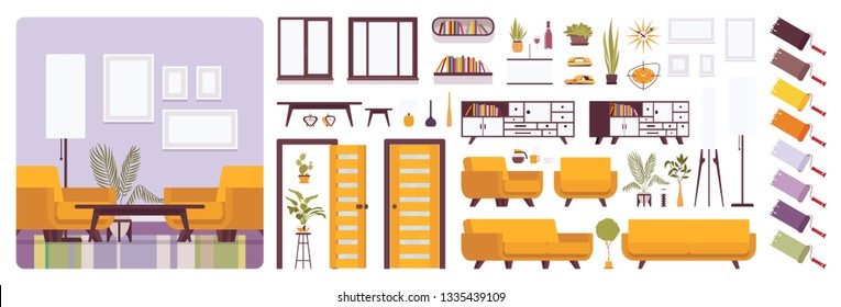 Living room interior, home or office creation kit, lounge set with bright yellow furniture, constructor elements to build your own design. Cartoon flat style infographic illustration and color palette