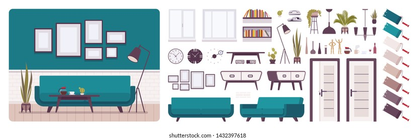 Living room interior, home, office creation set, comfort and classic elegance, kit with furniture, constructor elements to build own design. Cartoon flat style infographic illustration, color palette