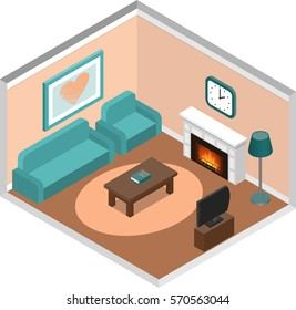 Living room interior in isometric style. House design with fireplace and furniture. Vector 3D illustration.