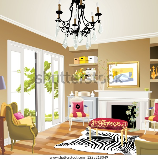 Living Room Interior Modern Furniture Colorful Stock ...