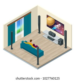 Living room interior with modern home theater system. Digitally created and high resolution rendered. Home theater system vector isometric illustration