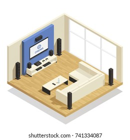 Living room interior with modern home theater system big window and comfortable sofa isometric 3d vector illustration