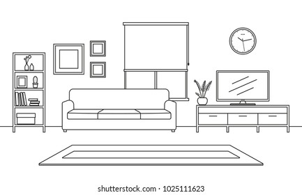 Living room interior outline sketch. Line style furniture: sofa, bookshelf, TV shelf, flowerpot, pictures on the wall, carpet. Vector illustration.