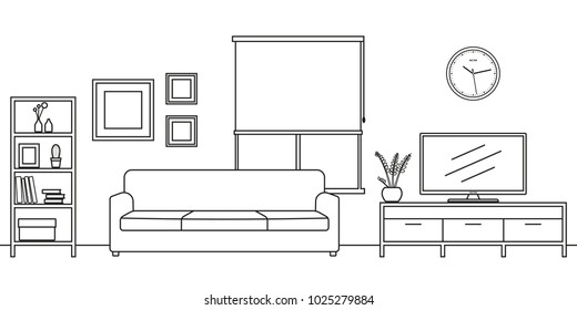 Living room interior outline sketch. Line style furniture: sofa, bookshelf, TV shelf, flowerpot, pictures on the wall. Vector illustration.