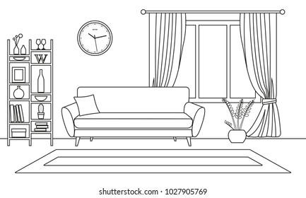 Living room interior outline sketch. Line style interior design with window and furniture: sofa, bookshelf, flowerpot, carpet. Vector illustration.