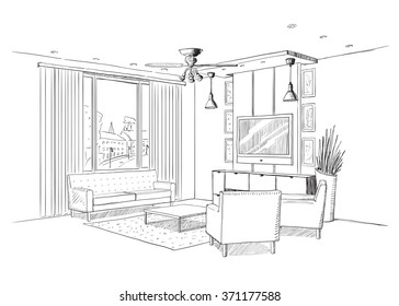 Living Room Sketch Stock Images, Royalty-Free Images & Vectors ...