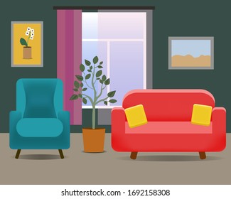 living room interior with sofa and armchair