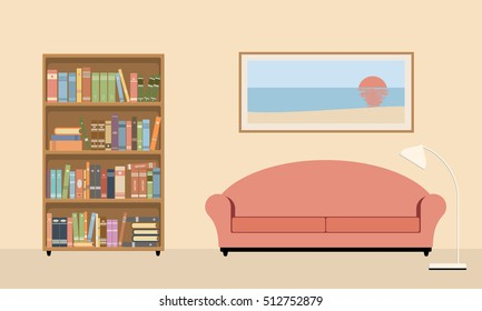 living room interior with sofa, bookcase and lamp. Vector illustration on a beige background.