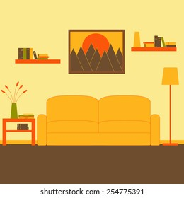 Living room interior with sofa, floor lamp, coffee table with magazines, newspaper, books, vase and flowers on it, two bookshelves with books and framed painting with mountains at sunset on the wall