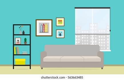 Living room interior with sofa, window, bookcase and picture frame on the wall. Vector illustration in flat style.