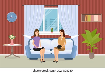 Living room interior with two women sitting on couch. Domestic room with furniture, window and house plants. Meeting of girlfriends in the apartment. Vector illustration.