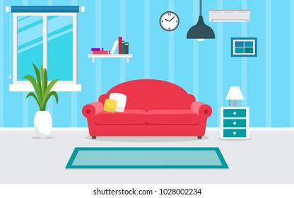 living room interior vector design