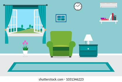 living room interior vector design