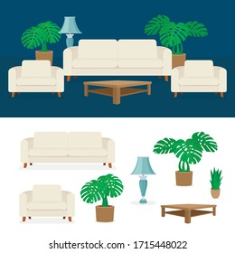Living room interior vector illustration. Modern bright interior in minimal style with design constructor elements. Part of set.