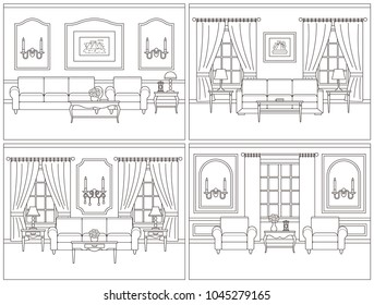living room interior vector set 260nw