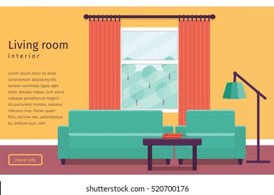 Living room interior with window in flat design. Banner with text. Vector illustration. Background.