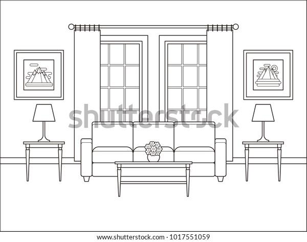 Vektor Stok Interior Ruang Tamu Dengan Jendela Ruang Tanpa Royalti 1017551059