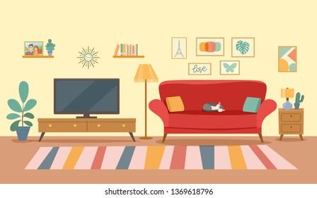 Living room interior.Flat style vector illustration