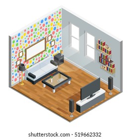 Living room isometric design with table chair and TV vector illustration