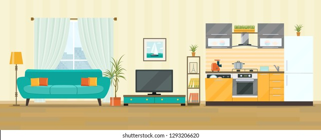 Living room and kitchen interior design. Flat style vector illustration