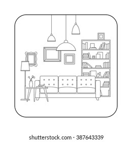 Living room line interior with furniture. Vector thin illustration of living room.