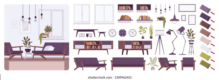 Living room modern interior, home or office creation kit, lounge set with furniture, different constructor elements to build own design. Cartoon flat style infographic illustration with color palette