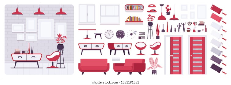 Living room modern interior, home, office creation set, lounge space kit with red furniture, constructor elements to build your own design. Cartoon flat style infographic illustration, color palette