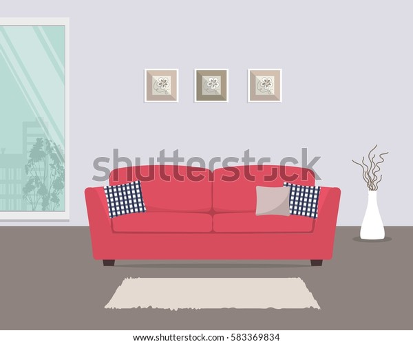 Living Room Red Sofa Pillows There | Objects, Interiors ...