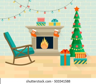 Living room with rocking chair, Christmas tree, fireplace. Vector flat illustration