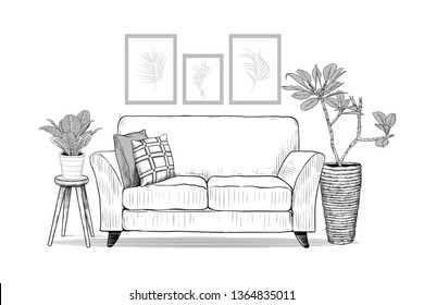 Living room. Sofa with cushions and exotic indoor plants . Vector interior sketch.