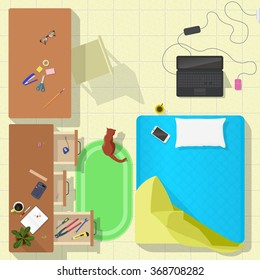 living room top view vector illustration. freelancer workplace with matresse and notebook