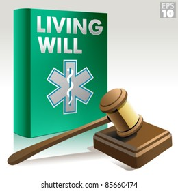 Living will packet with gavel, sound block and advance health care directive icon