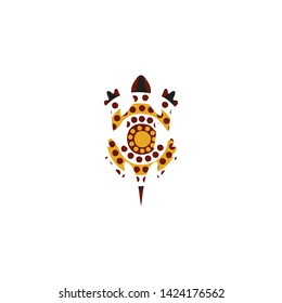 Lizard aboriginal art dots painting icon logo design vector template