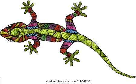 lizard. amphibian. Doodle. Lizard drawing